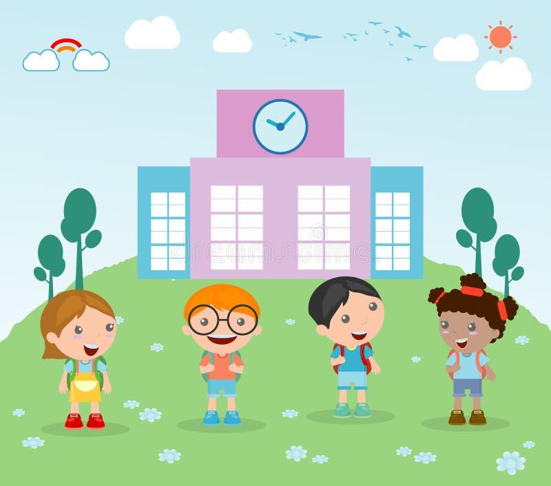 As crianças vão à escola, criança vão à escola, de volta à escola, crianças bonitos dos desenhos animados, crianças felizes, ilus ilustração stock
