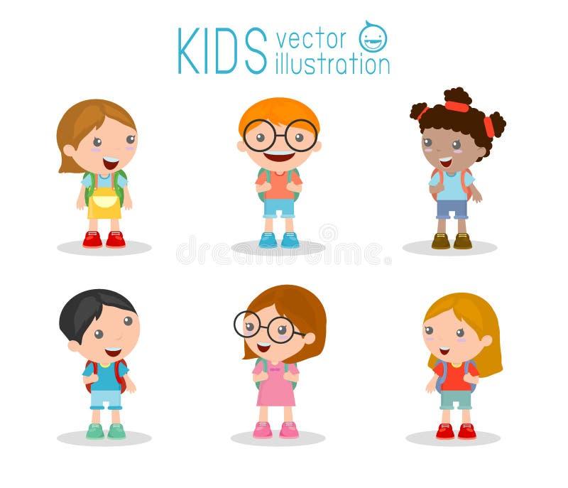 As crianças vão à escola, de volta à escola, crianças bonitos dos desenhos animados, crianças felizes ilustração royalty free