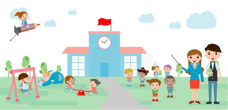 As crianças vão à escola, de volta ao molde da escola com crianças, professor e estudantes, crianças e campo de jogos fotos de stock