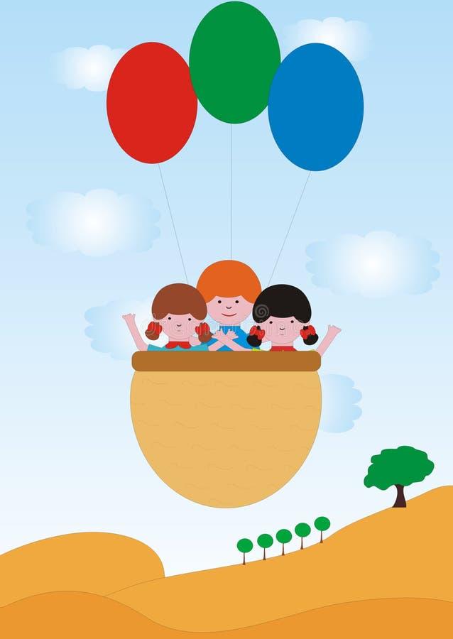 As crianças voam com balões fotografia de stock royalty free