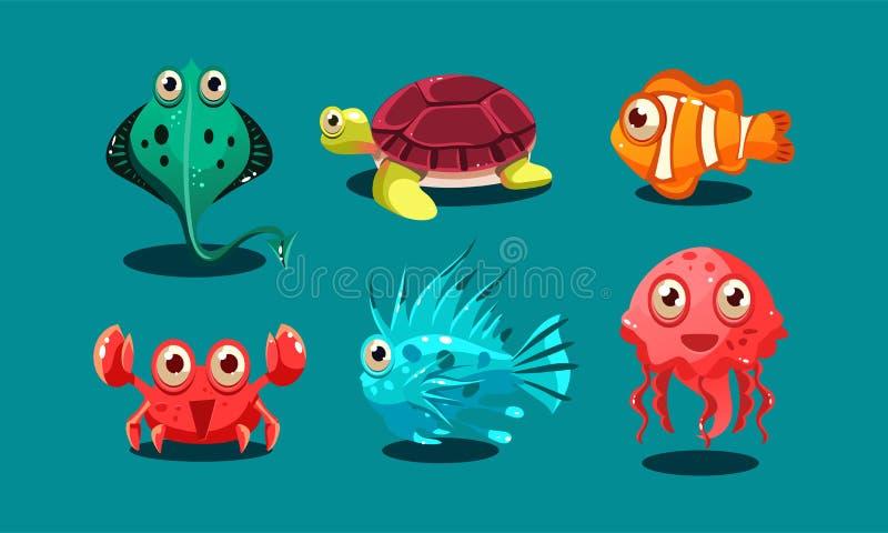 As criaturas do mar ajustam-se, animais engraçados bonitos e pescam-se caráteres, polvo, solha, medusa, peixes do palhaço, tartar ilustração do vetor