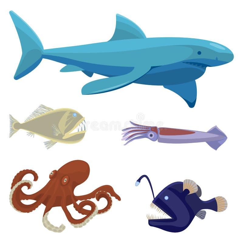 As criaturas incomuns perigosas do mar profundo isolaram as ilustrações ajustadas ilustração stock