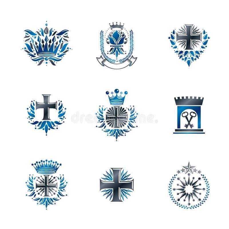 As cruzes antigas coroam estrelas e florescem os emblemas ajustados ilustração do vetor