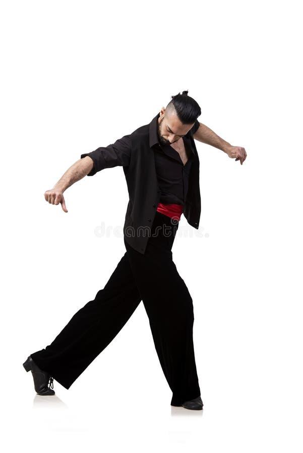 As danças de dança do espanhol do dançarino do homem isoladas no branco fotografia de stock royalty free