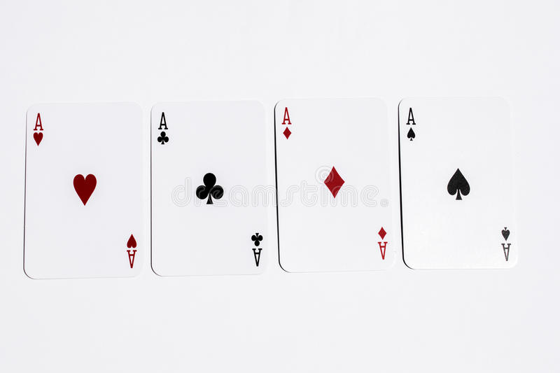 As de la tarjeta cuatro del póker en el fondo blanco imagenes de archivo