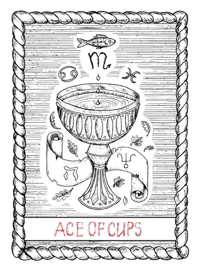 As de tazas La carta de tarot ilustración del vector