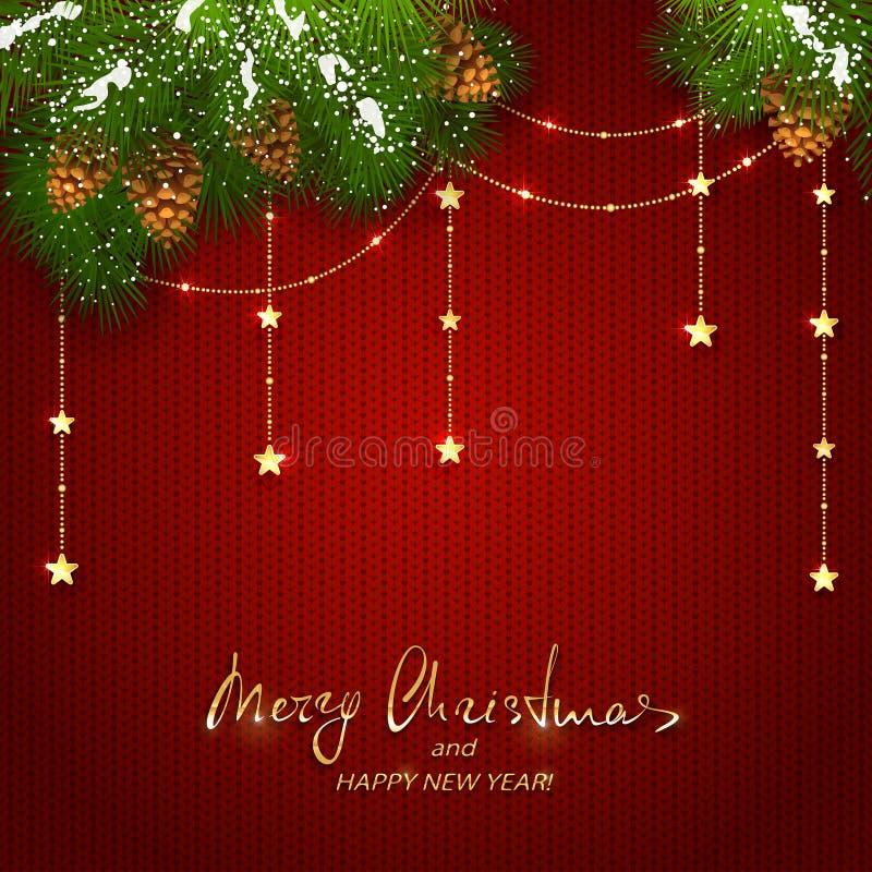 As decorações do Natal com as estrelas douradas no vermelho fizeram malha o backgroun ilustração stock