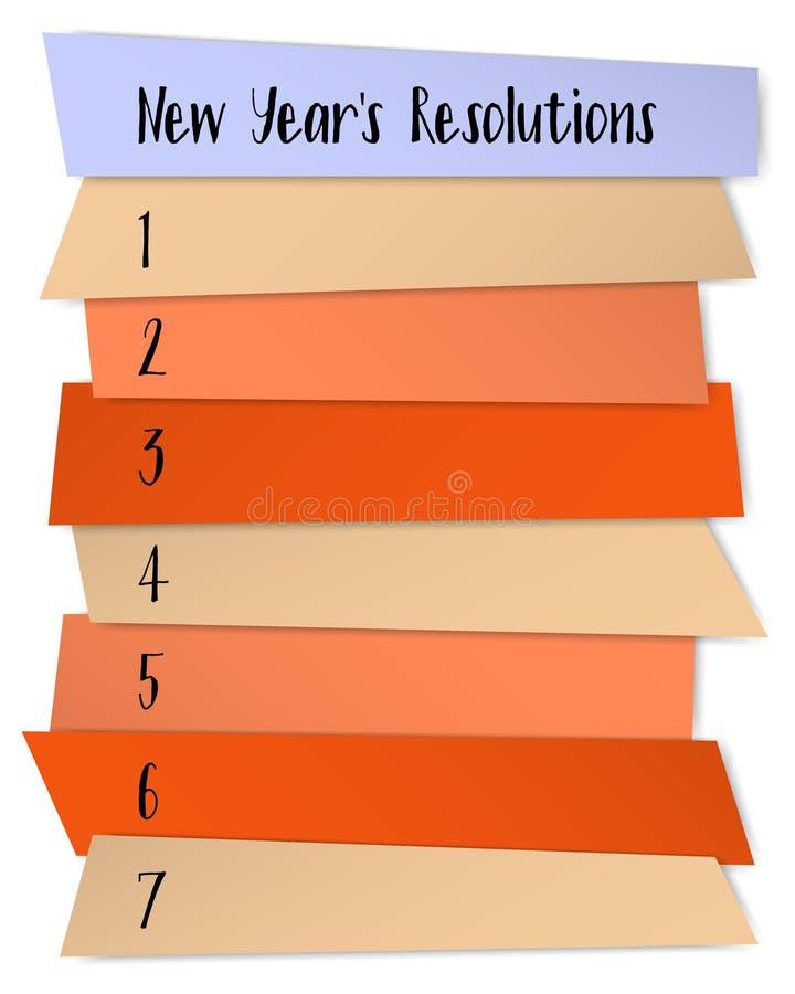 As definições do ano novo alistam o molde do vetor para planos ilustração royalty free