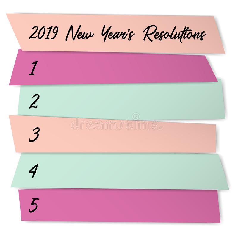 As definições do ano novo alistam o molde do vetor para planos ilustração stock