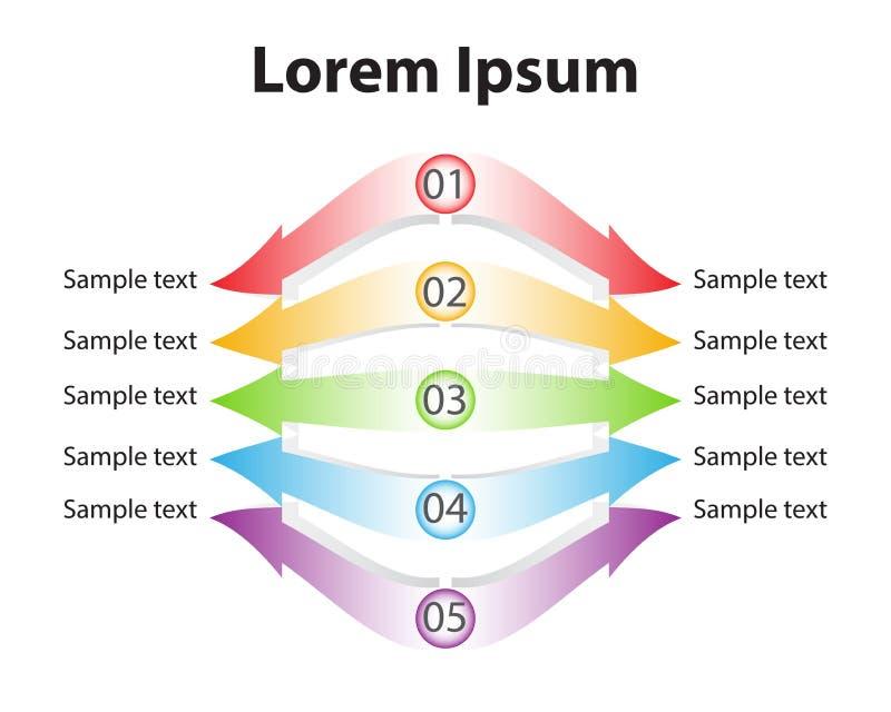 As dez setas coloridas projetam para a disposição dos trabalhos, diagrama, número o ilustração royalty free