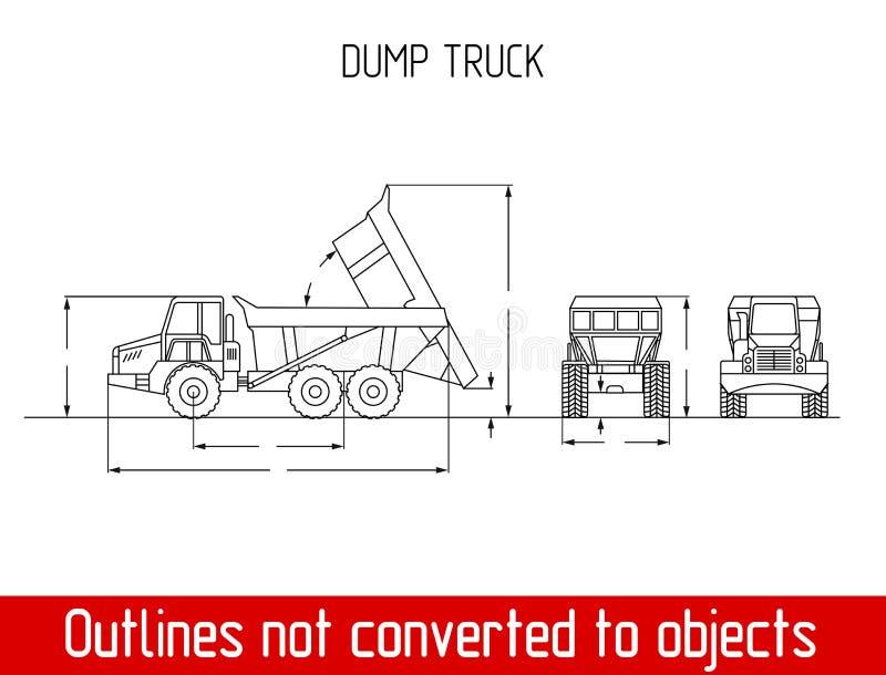 As dimensões totais agriculated típicas do caminhão esboçam o molde do modelo ilustração royalty free