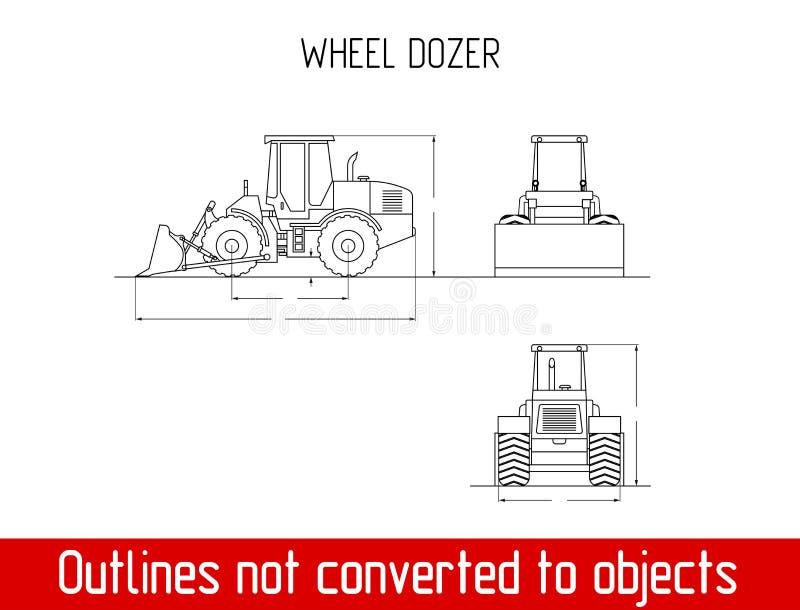 As dimensões totais da escavadora típica da roda esboçam o molde do modelo ilustração do vetor