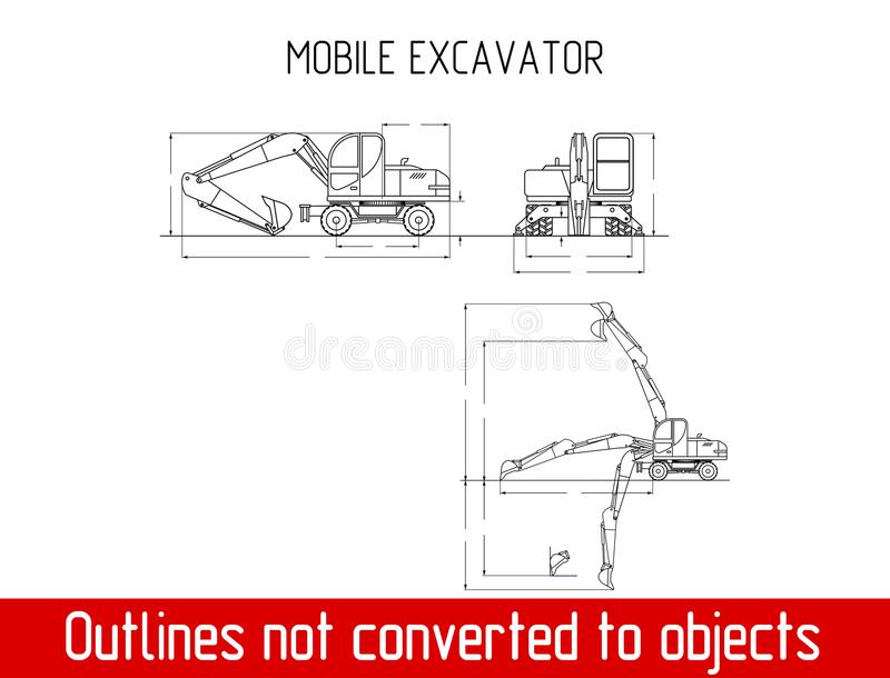 As dimensões totais da máquina escavadora móvel típica esboçam o molde do modelo ilustração stock