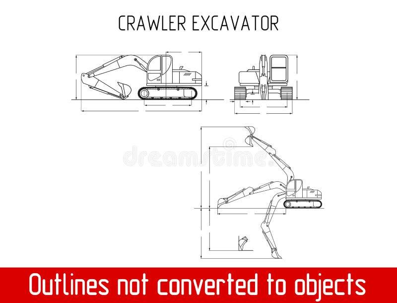 As dimensões totais da máquina escavadora típica da esteira rolante esboçam o molde do modelo ilustração royalty free
