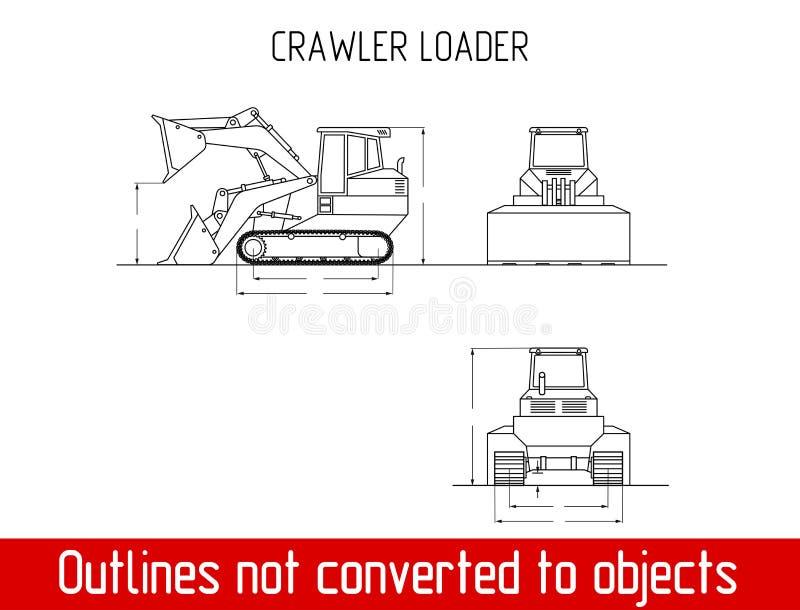 As dimensões totais do carregador típico da esteira rolante esboçam o molde do modelo ilustração stock