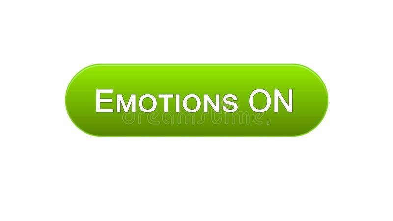 As emoções na relação da Web abotoam a cor verde, expressão dos sentimentos, projeto do local ilustração stock