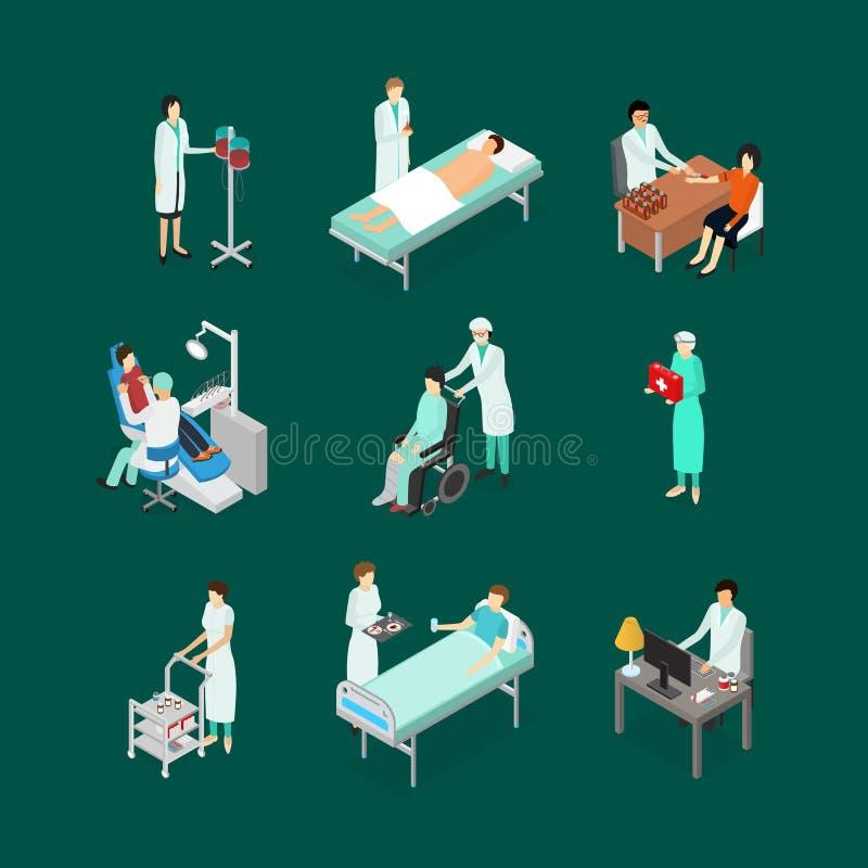 As enfermeiras que atendem a ícones dos pacientes ajustaram a vista isométrica Vetor ilustração stock