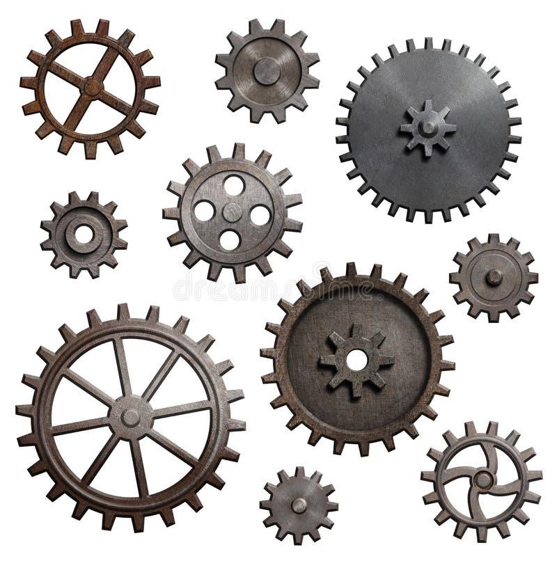 As engrenagens e as rodas denteadas velhas do metal isolaram a ilustração 3d imagem de stock royalty free