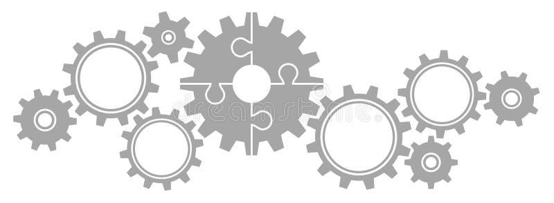 As engrenagens limitam o cinza grande e pequeno do enigma ilustração stock