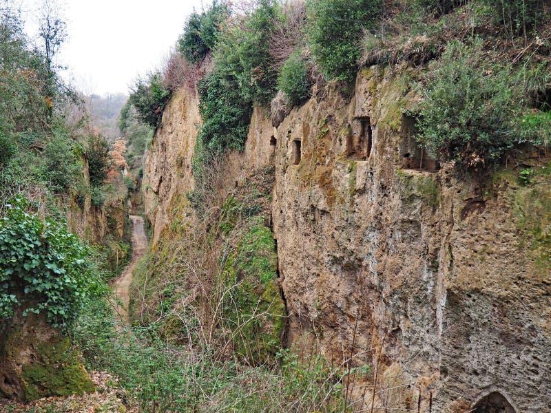 As entradas do túmulo na parede da através de oco, uma estrada antiga de Etruscan cinzelaram através dos penhascos do tufo em Tos fotografia de stock royalty free