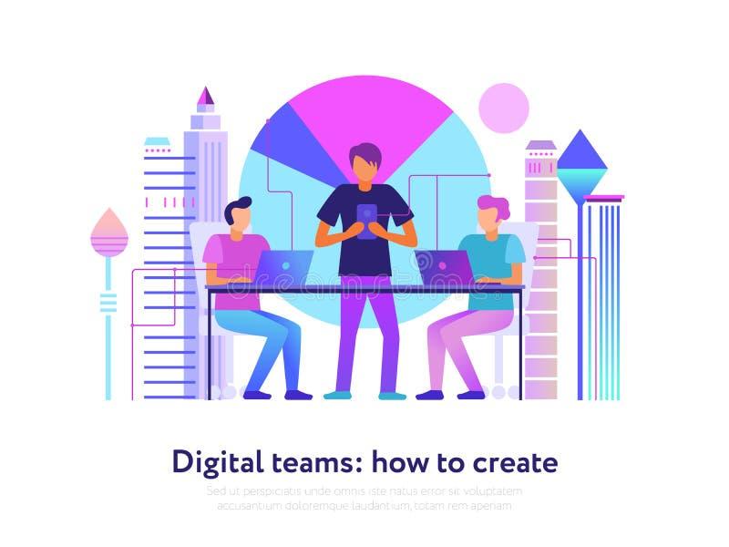 As equipes de Digitas projetam ilustração do vetor