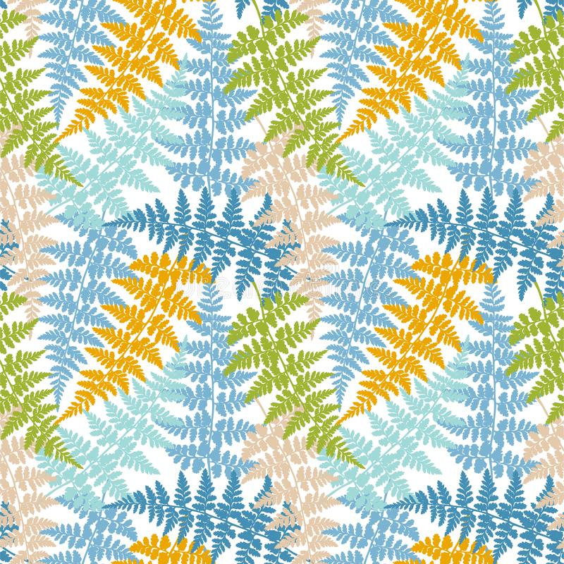 As ervas da fronda da samambaia, planta tropical da floresta saem do papel de envolvimento sem emenda do vetor Teste padrão erval ilustração royalty free