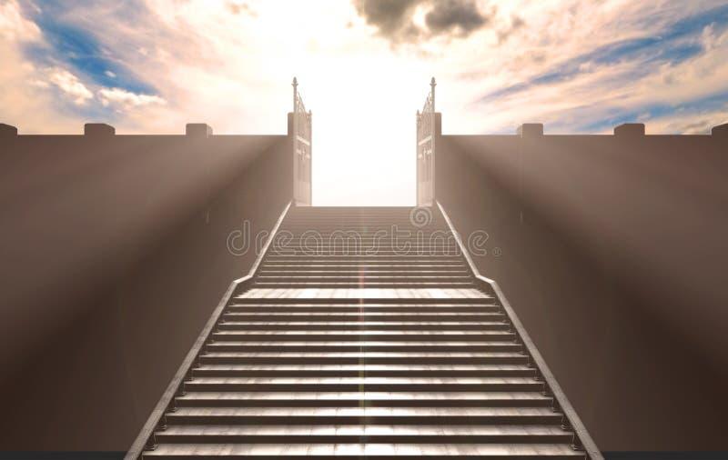 As escadas às portas dos céus ilustração stock