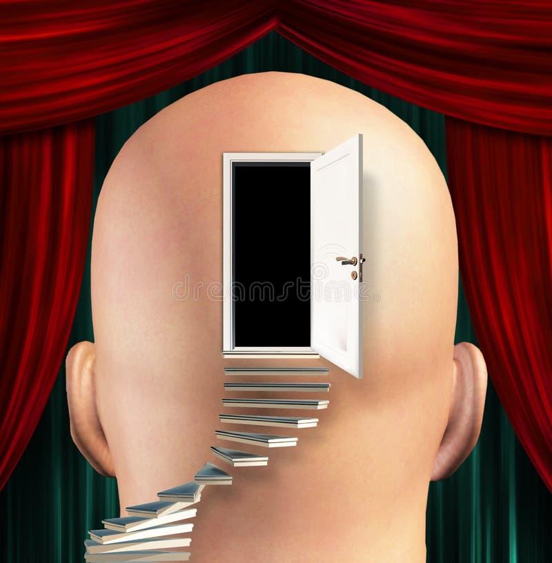 As escadas conduzem à porta à mente ilustração royalty free