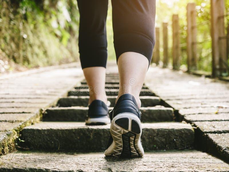 As escadas da caminhada da mulher pisam aventura exterior da trilha da fuga da sapata do esporte do exercício fotografia de stock