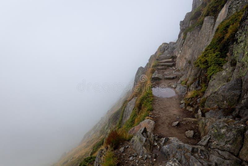 As escadas da pedra da fuga de montanha pudlam a névoa coberta fotografia de stock