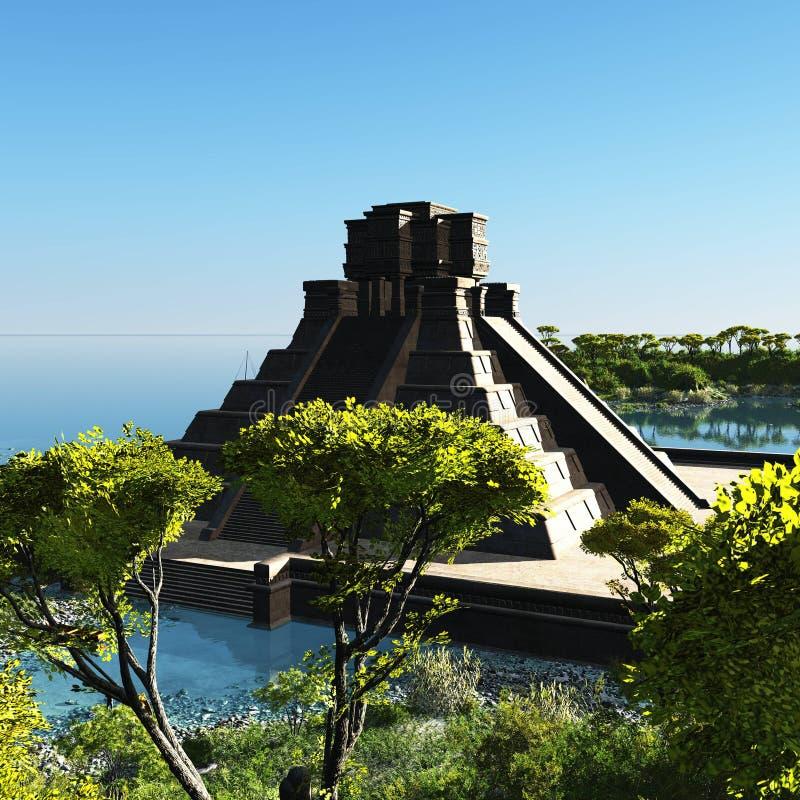 As escadas da rendição maia do templo 3d ilustração royalty free
