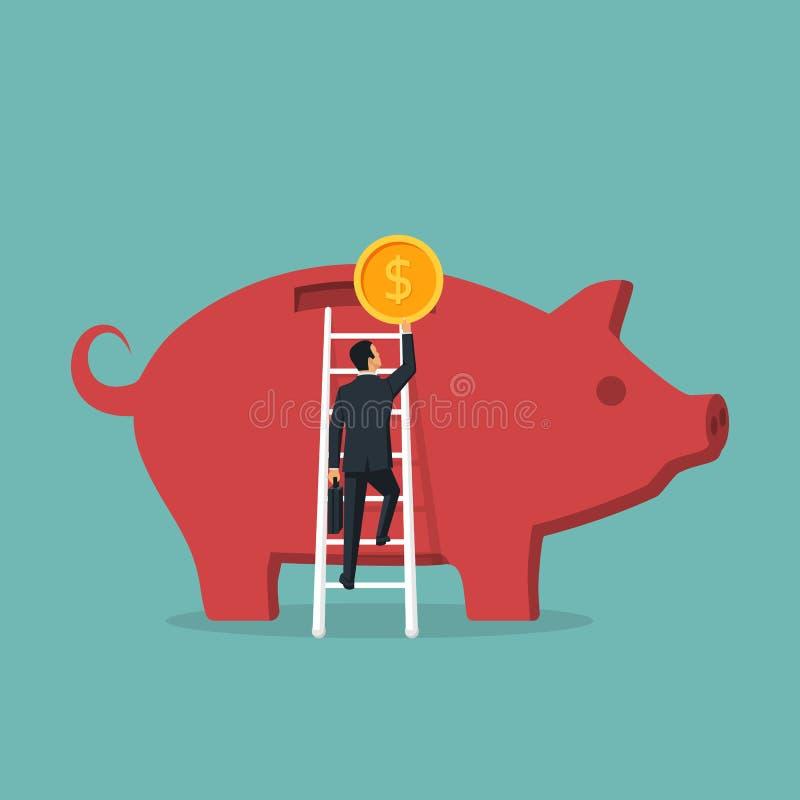As escadas das escaladas do homem de negócios ao mealheiro grande mantêm a moeda disponivel ilustração do vetor