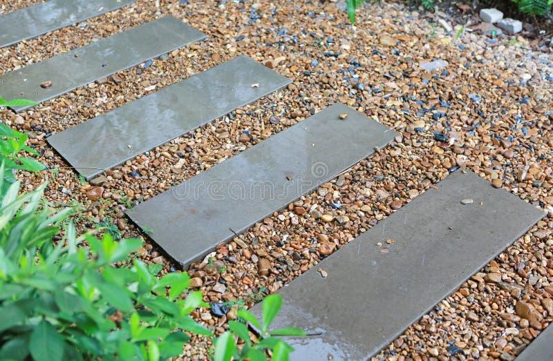 As escadas do cimento no jardim estão molhadas da chuva Superfície do deslizamento fotos de stock