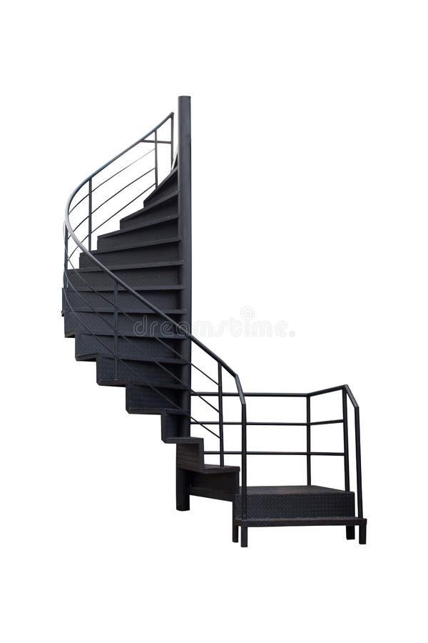 As escadas são feitas do preto pintado de aço no fundo branco fotografia de stock royalty free