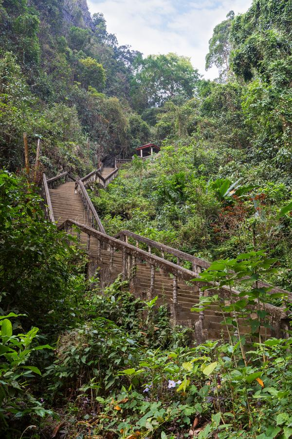 As escadas a Tham Chang cavam em Vang Vieng imagem de stock royalty free