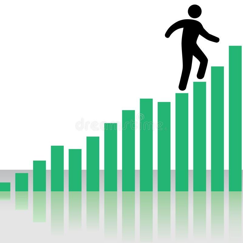 As escaladas da pessoa lucram escadas do gráfico da carta ilustração do vetor