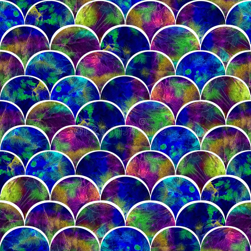 As escalas brilhantes dão forma ao pavão abstrato do palete da cor do grunge inspirado ilustração royalty free