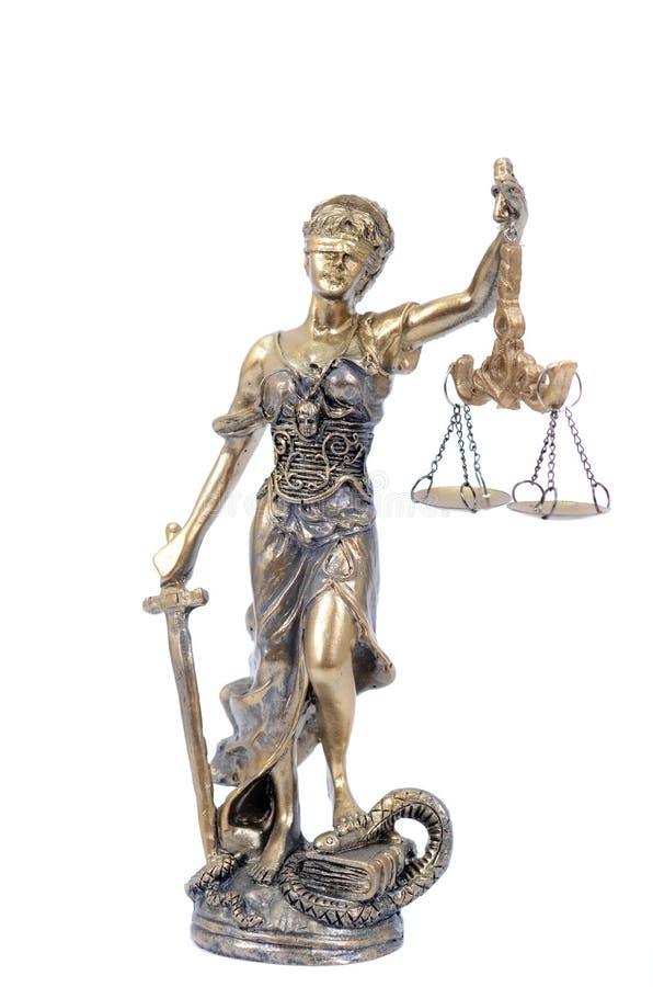 As escalas de justiça, Justitia, senhora Justice no branco isolaram o fundo foto de stock