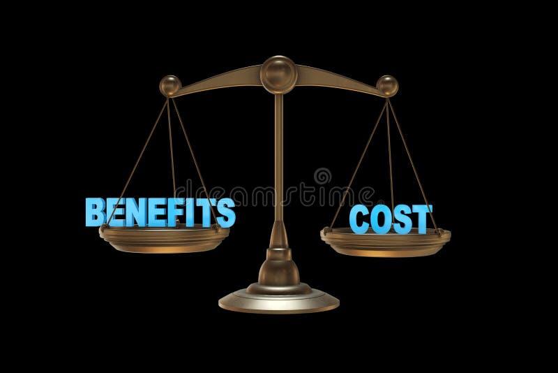 As escalas nos benefícios e na rendição do conceito 3d do custo ilustração do vetor