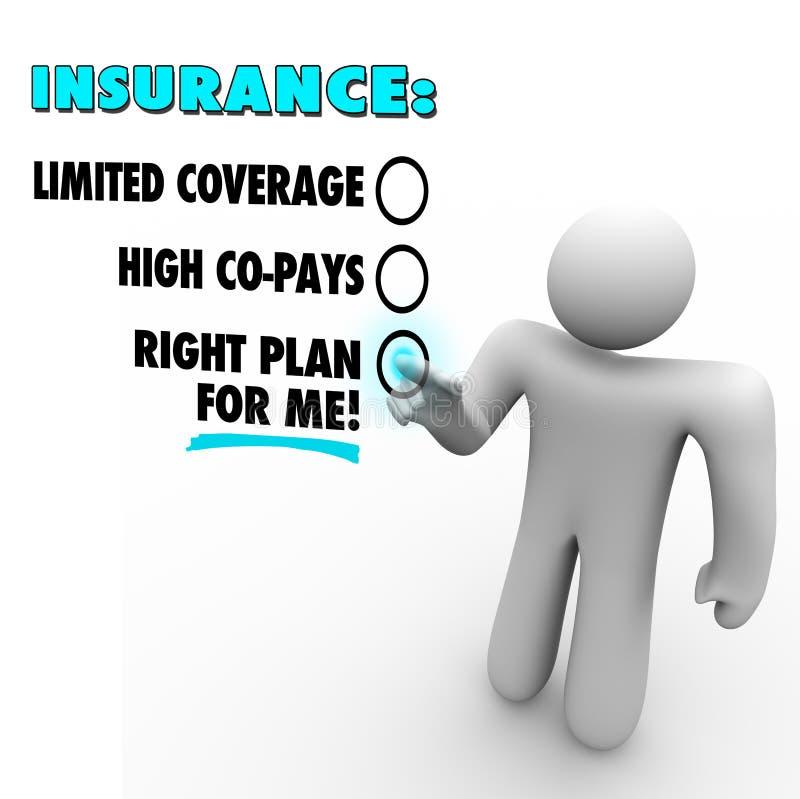 As escolhas do seguro endireitam o plano contra cobertura limitada Copay alto ilustração stock