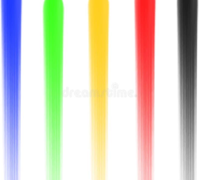 As escovas redondas 5 da cerda sintética colorem o preto vermelho do amarelo do verde azul vetor EPS da textura da pintura da aqu ilustração stock