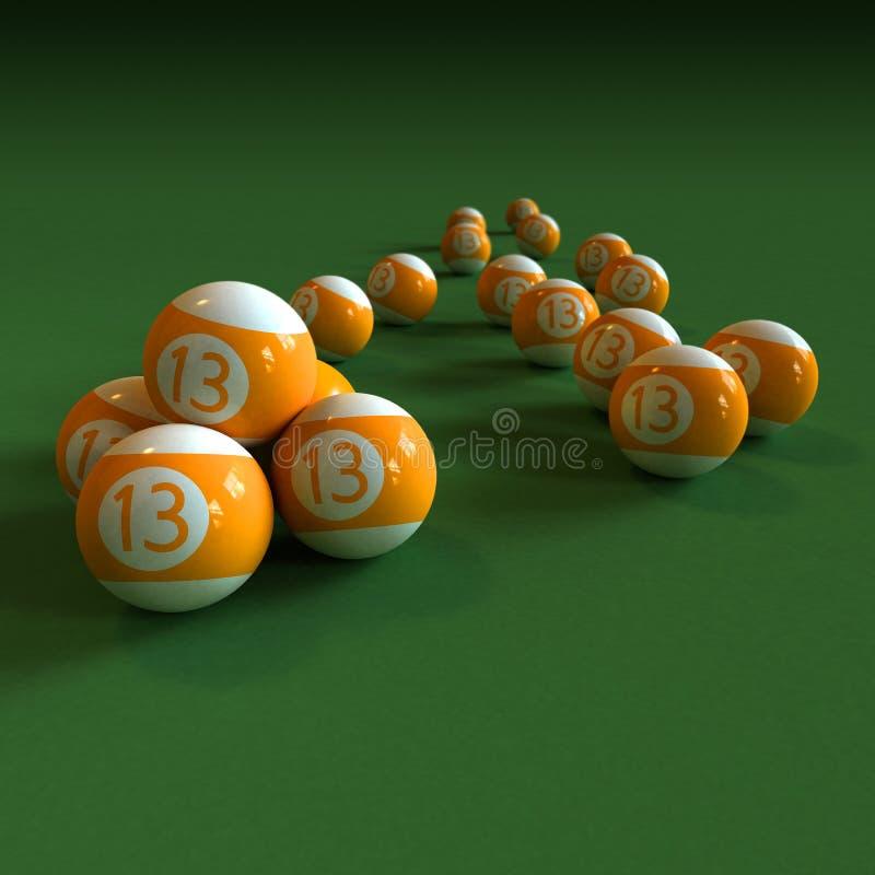 As esferas de bilhar alaranjadas numeram 13 no tabl de feltro do verde ilustração do vetor