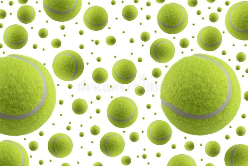 As esferas de tênis chovem isolado no fundo branco fotografia de stock