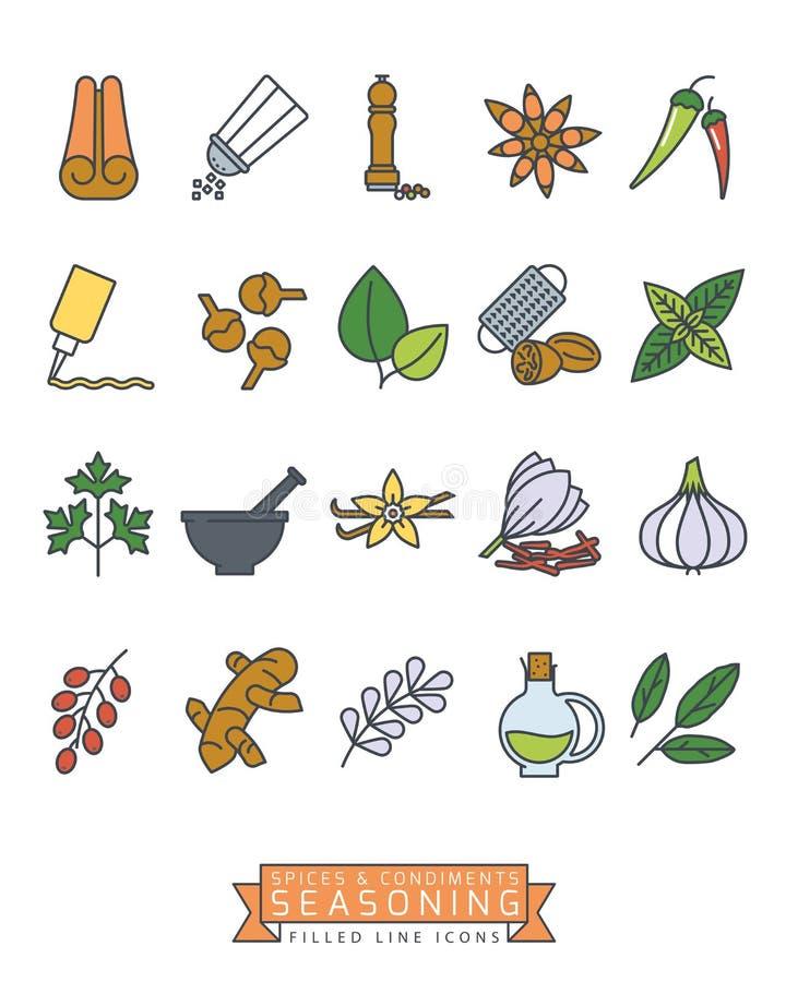 As especiarias e os condimentos encheram a linha grupo do ícone do vetor ilustração royalty free