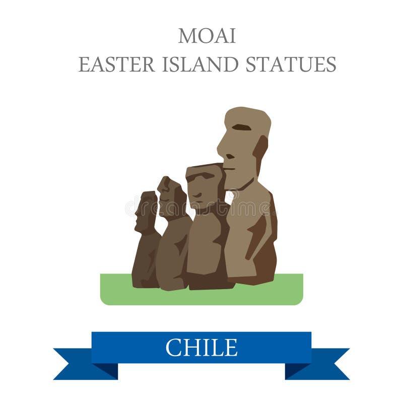 As estátuas da Ilha de Páscoa de Moai no Chile vector a atração lisa ilustração royalty free