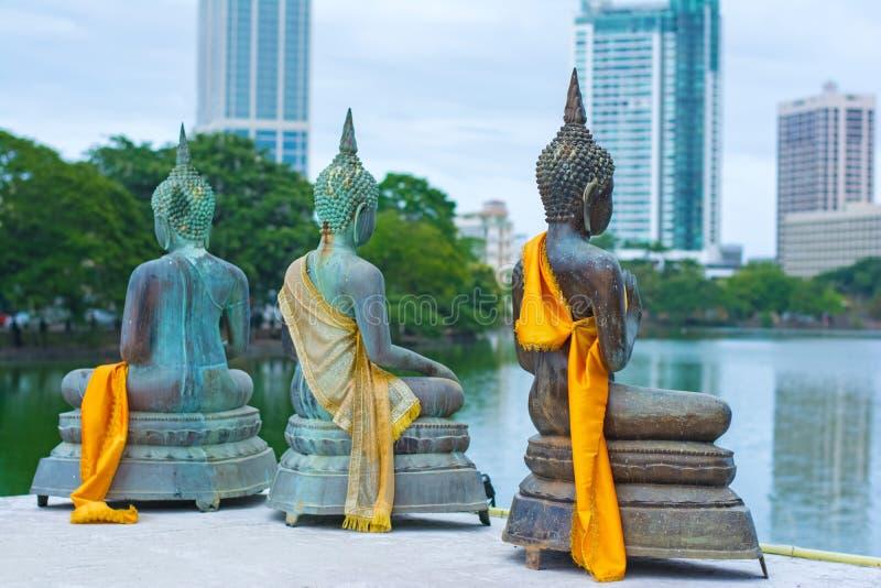 As estátuas do templo de Seema Malakaya At The Gangarama imagem de stock royalty free