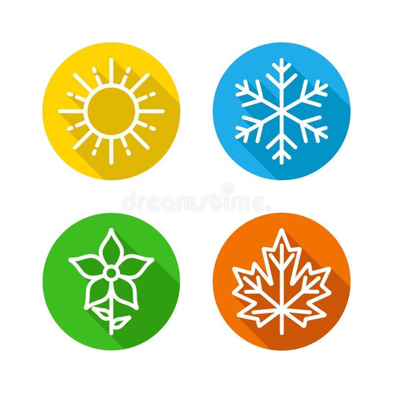 As estações ajustaram ícones coloridos - as estações - verão, inverno, mola e outono - sinal da previsão de tempo