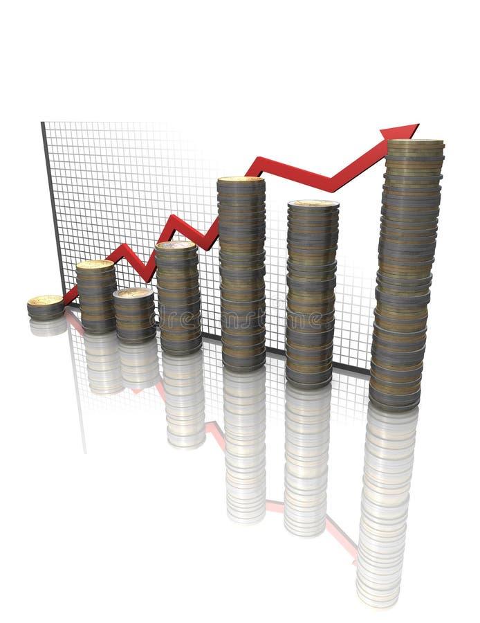 As estatísticas de negócio representam graficamente o dinheiro ilustração do vetor