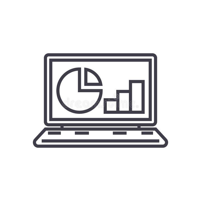 As estatísticas em linha, analítica dos dados vector a linha ícone, sinal, ilustração no fundo, cursos editáveis ilustração royalty free