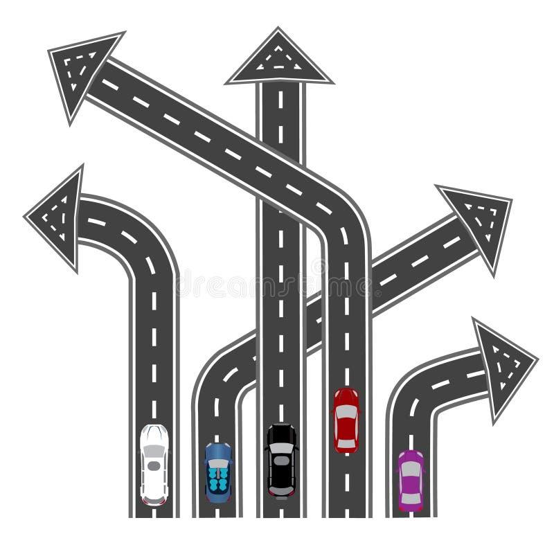 As estradas em sentidos diferentes Destinos sob a forma das setas Imagem abstrata Ilustração ilustração royalty free